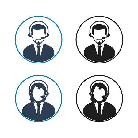Customer Help Icon set. Flat style vector EPS.