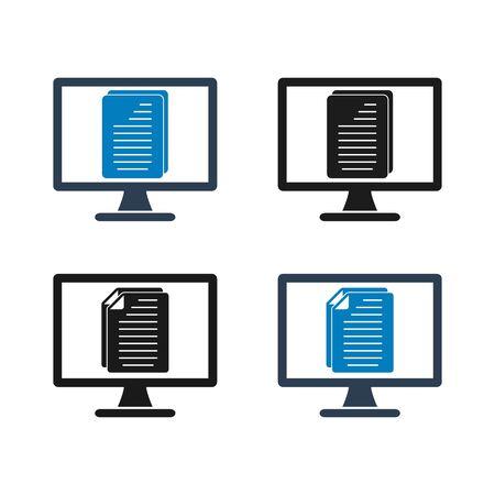 Digital Document Icon set. Flat style vector. Çizim