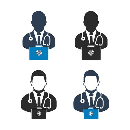 Doctor on Duty Icon set. Flat style vector EPS.
