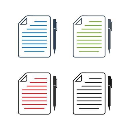 Exam Paper Icon set. Flat style vector.