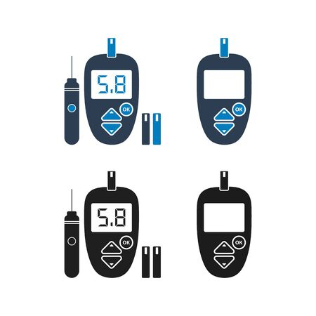 Glucose meter icon set. Flat style vector EPS.