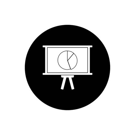 Business Presentation Icon. Rounded Button Style vector. Çizim