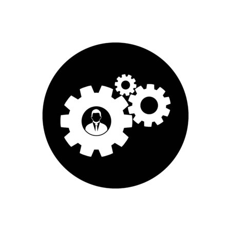 Business Solution Icon. Rounded Button Style vector.