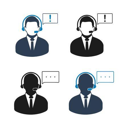Customer Service Icon set. Flat style vector EPS. Illusztráció