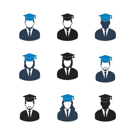 Graduate Student Icon set. Flat style vector EPS. Ilustração
