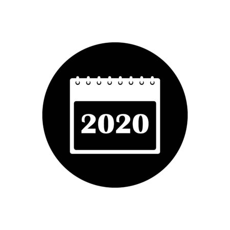 2020 Calendar Icon. Rounded button style vector.