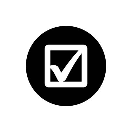 Check Box Icon. Rounded Button Style vector. Reklamní fotografie - 132108260