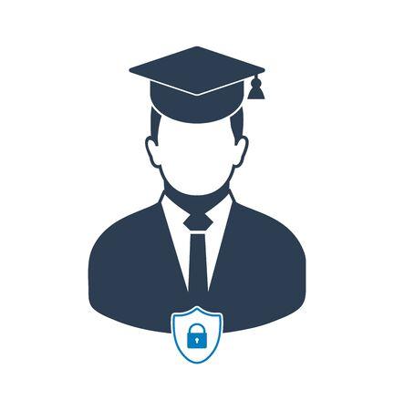 Education insurance icon. Flat style vector EPS. Çizim