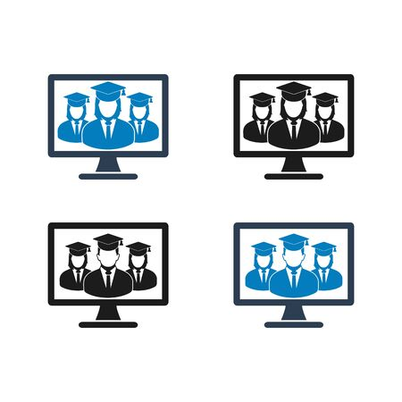 Online Learning Icon Set. Flat style vector.