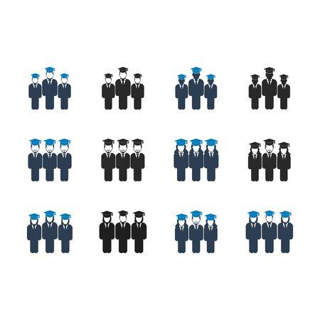 Conjunto de iconos de equipo de estudiantes graduados. EPS vectoriales de estilo plano.