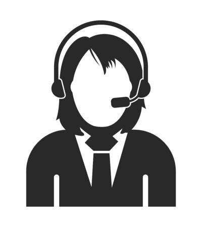 Female Costumer service icon.  Flat style vector EPS. Çizim
