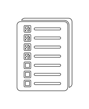 Checklist document Icon. Line style vector