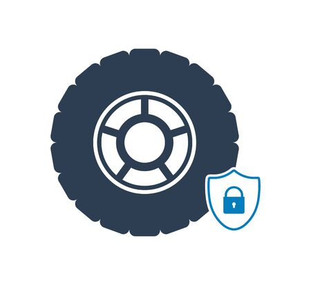 Car Protection Icon. Flat style vector