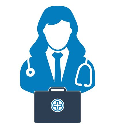 Doctor  icon with medicine box. Flat style vector EPS.