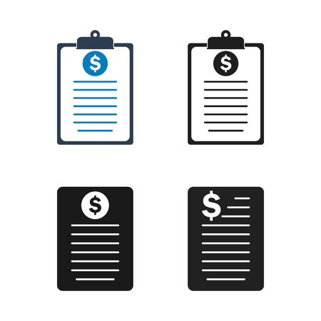 Financial Report Icon Set. Flat style vector