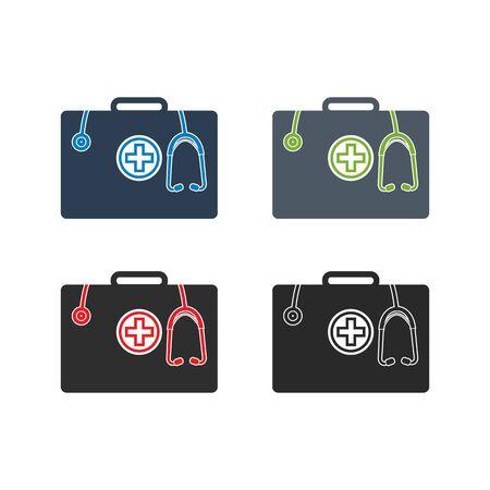 First Aid Kit Icon Set. Flat style vector. Ilustração