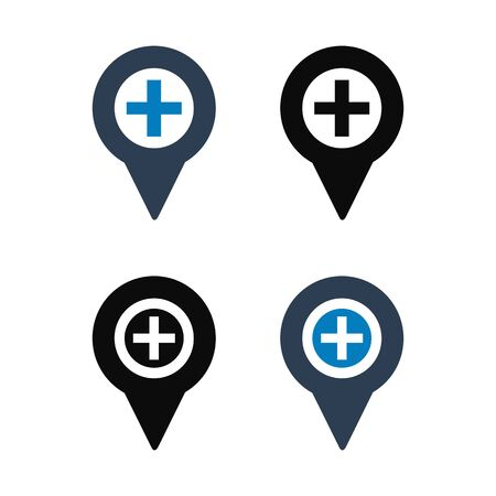 Hospital Location Icon Set. Flat style vector EPS.