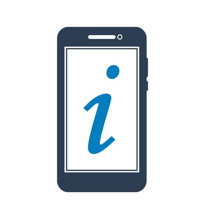 Information Icon with mobile symbol. FLat style vector.
