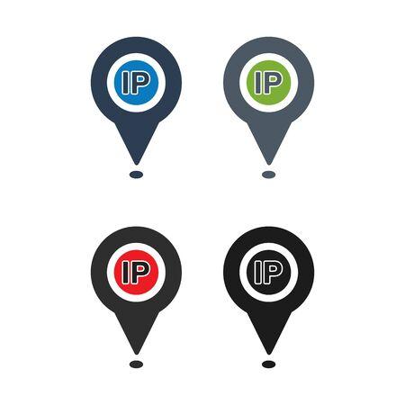 IP Address Icon Set. Flat style vector