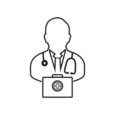 Médecin sur l'icône de la ligne de service. Vecteur EPS.