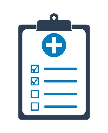 Medical Test Report Icon on clipboard symbol. Flat style vector EPS. Çizim