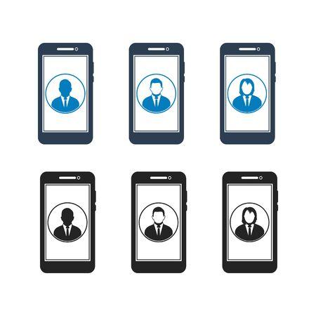 Online Business help Icon Set. Flat Style vector Ilustração