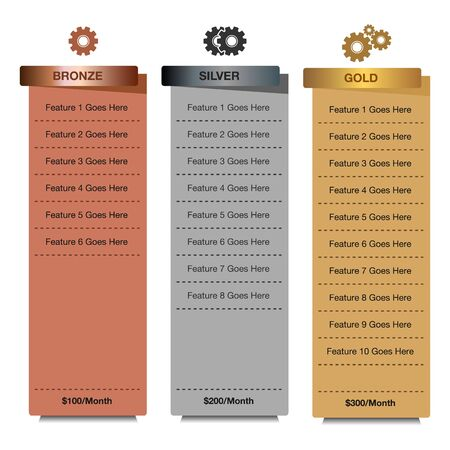 Pricing Table Templet Design. Vector EPS.