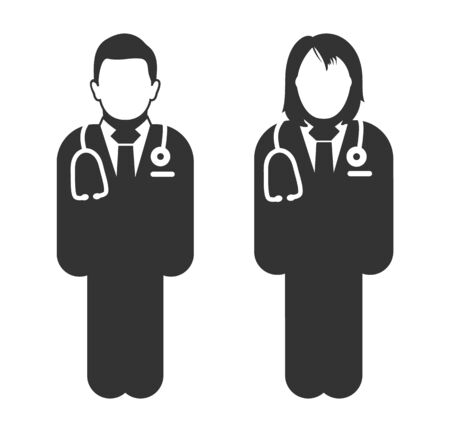Standing male and female doctor icon. Flat style vector EPS.