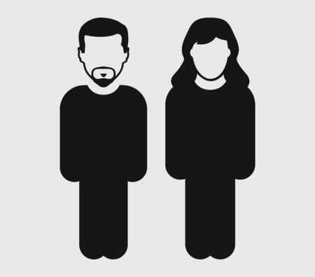 Couple Icon. Standing Male and female symbol on gray background. flat style vector eps.