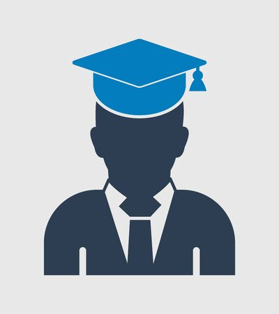 Male graduate student icon with gown and cap. Flat style vector EPS. 向量圖像