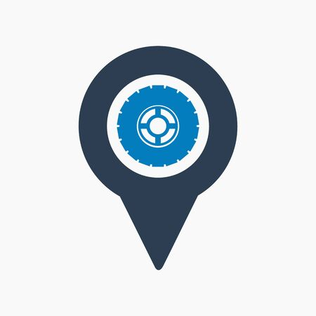 Car service location icon. Flat style vector EPS. Çizim