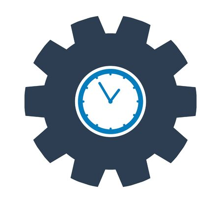 Clock Icon with gear symbol. Flat style vector EPS. Çizim