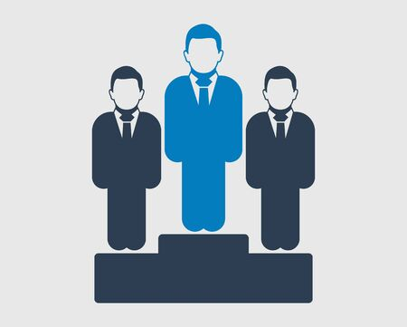 Business success icon. Male and female symbol standing on podium. Flat style vector eps.