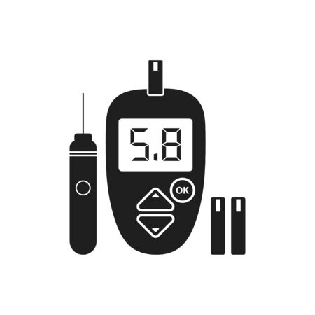 Glucose meter icon with lancet pen symbol. Flat style vector EPS. Çizim