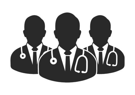 Medical Team Icon with  Male doctor symbols. Flat style vector EPS.