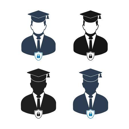 Education Insurance Icon Set. Flat style vector EPS.