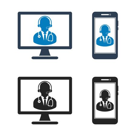 Online medical consultant icon. Flat style vector EPS. Çizim