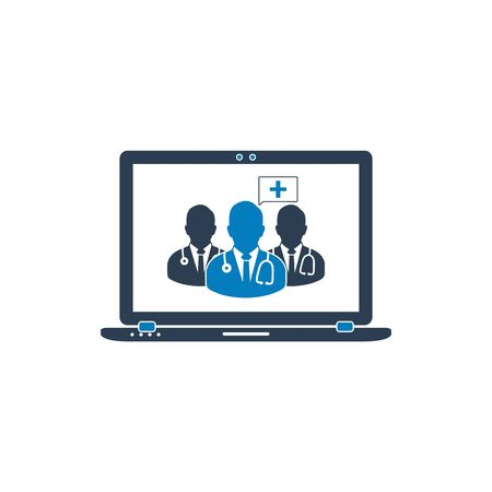 Online Medical Service Icon. Flat style vector EPS. Çizim