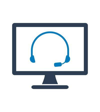 Online Customer Service Icon. Flat style vector. Çizim