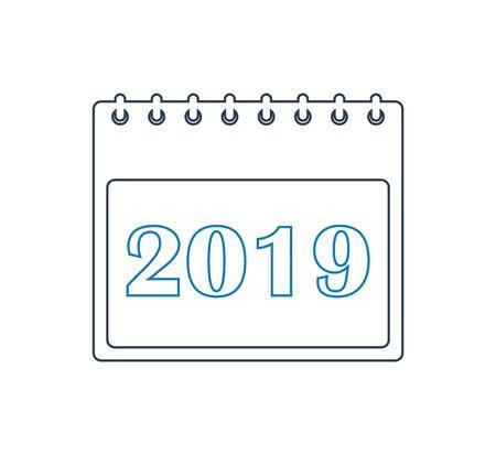 2019 Calendar line  Icon. Editable vector EPS.