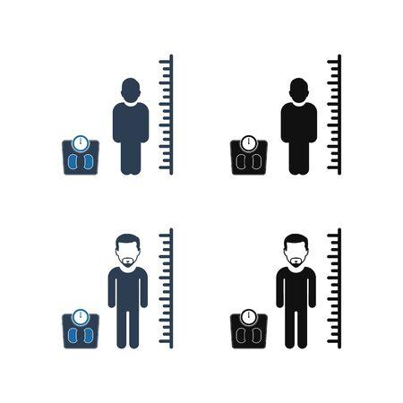 Body Mass Index Icon Set. Flat style vector EPS.