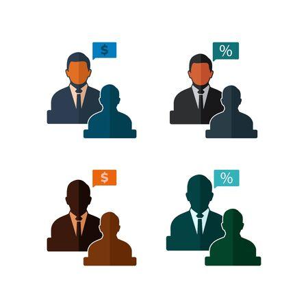 Business Adviser Icon Set. Flat style vector EPS.