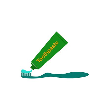 Brush and Toothpaste Icon. Flat style vector  . Illustration