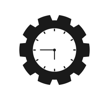 Time Icon with Clock and gear symbol. Flat style vector  .