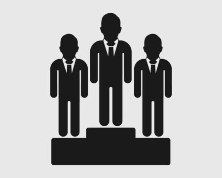 Business leader Icon. Male symbol  on podium. Flat style vector  .