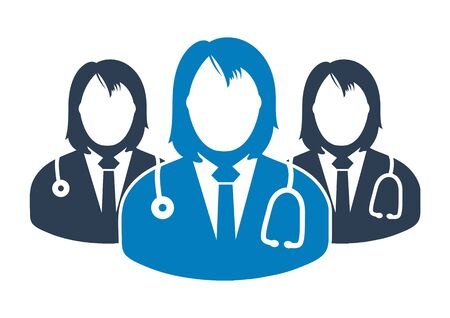 Medical Team Icon with  female doctor symbols. Flat style vector  . Ilustração