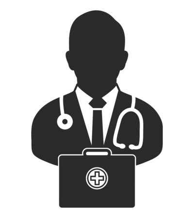 Doctor  icon with medicine box. Flat style vector  .