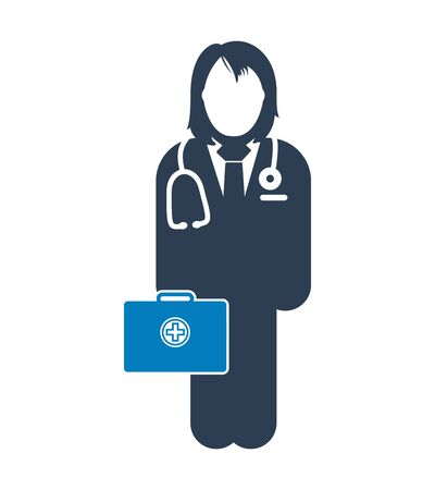 Doctor  on duty Icon. Female symbol with medicine bag on hand.