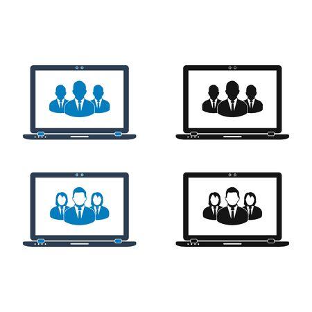 Online Business Team Icon set. Flat style vector  . Ilustração