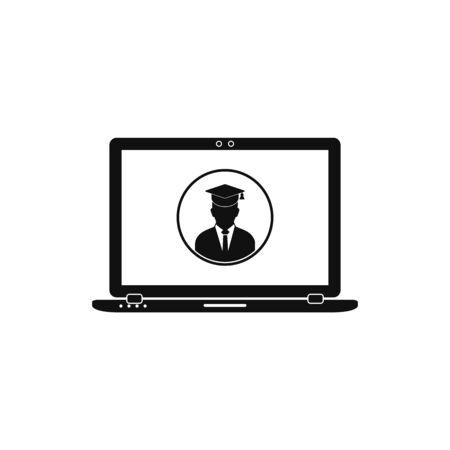 Online, E-Learning Icon. Flat Style vector  . Ilustração